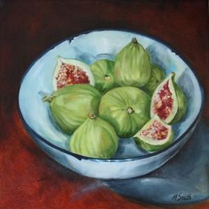 Green Figs in Enamel Bowl by Margaret Smith